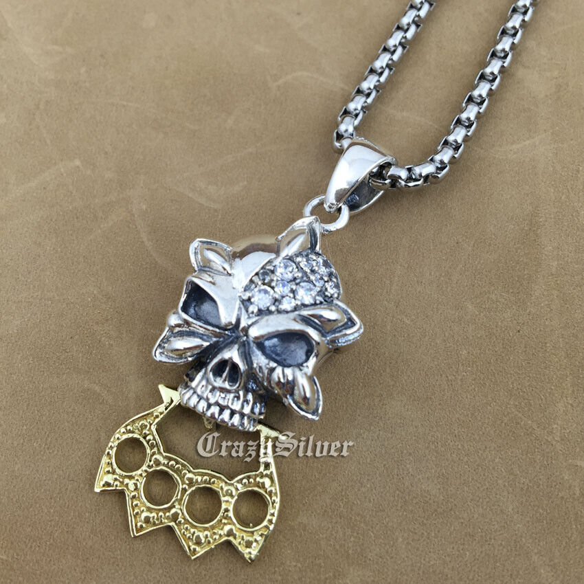 925 sterling silver skull white cz knuckle duster pendant 9v023a 925 sterling silver skull white cz stone brass knuckle duster pendant 9v023a 316l stainless steel necklace 24 inches mozeypictures Choice Image