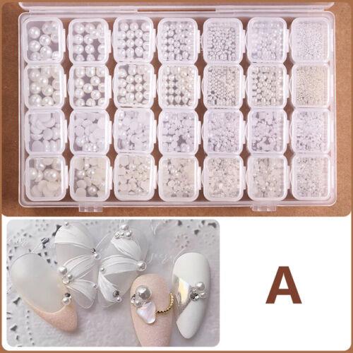 28 Jars Set of  3D  Crystal Rhinestones Art Nail Manicure Tr
