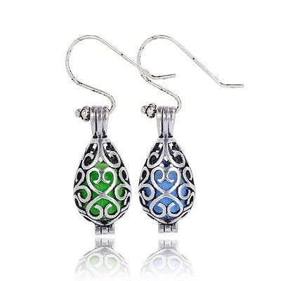 Antique Silver Aromatherapy Mermaid Essential Oil Diffuser Drop Dangle Earrings