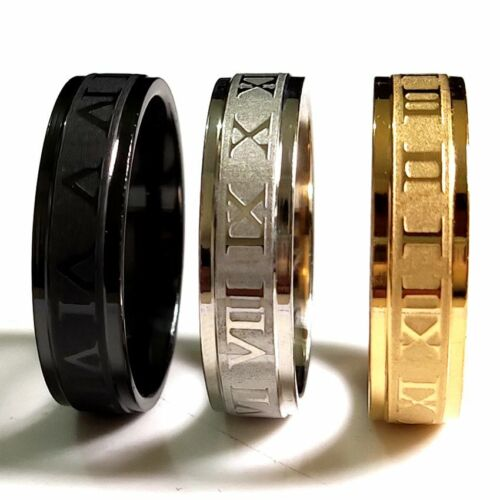 30pcs Gold Silver Black Etched Roman Numerals Stainless Steel Ring Comfort-fit