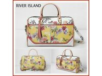 RIVER ISLAND Yellow Floral Print Large Weekend Bag Luggage Travel BRAND NEW WITH TAGS RRP £70