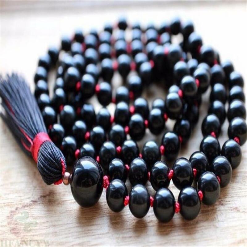 6mm Natural Black Onyx Gemstone 108 Beads Tassels Mala Necklace energy Healing