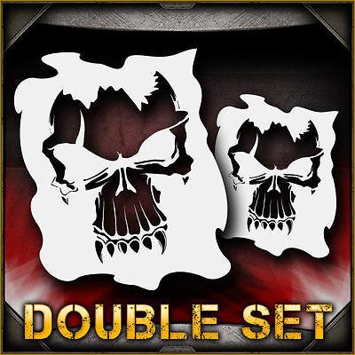 Skull 1b Double Set Airbrush Stencil Template Airsick