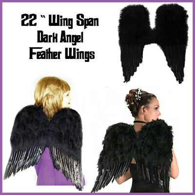 Black Feather Wings Costume Sexy Devil Fallen Angel Fairy Halloween Maleficient