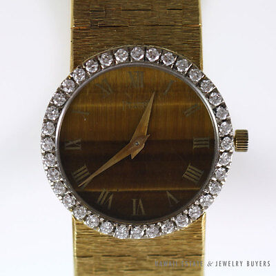 PIAGET DIAMOND & TIGER'S EYE QUARTZ STONE 18K YELLOW GOLD LADIES WRIST WATCH