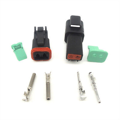 1set 2pin Waterproof Electrical Wire Connector Plug Kit 22-16awg Dt06-2s Dt04-2p