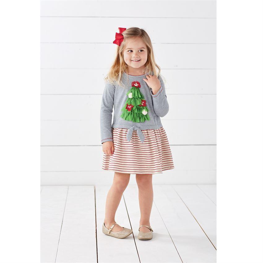 New Mud Pie Baby Girl Gray Christmas Tree Striped Tie Dress