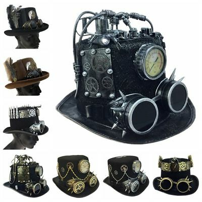 Steampunk Top Hat Feather Halloween Costume Cosplay Party With Goggles](Party Top Hat)