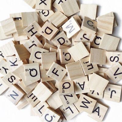 100 Pcs/Bag Wooden Alphabet Scrabble Tiles Letters Numbers For Board Crafts DIY