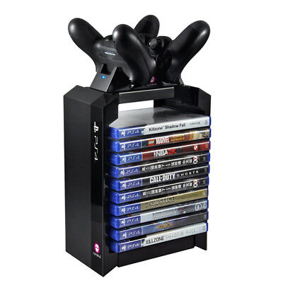Sony PlayStation 4 PS4 Official Games Storage Tower + Dual Controller Charger