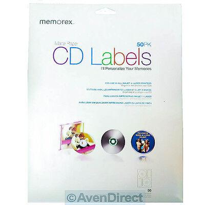 50 New Memorex Cd Dvd White Matte Paper Inkjet Laser Labels Free Fast Shipping