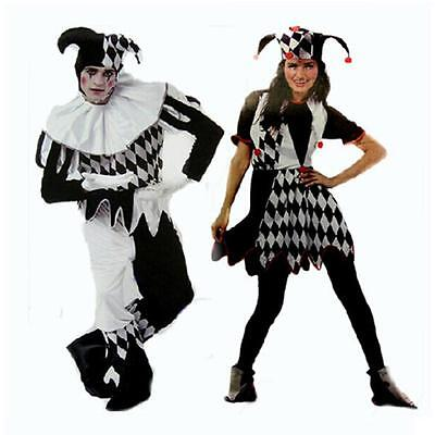 Clown Couple Costumes (2018 Harlequin Jester Couples Costume Halloween Clown Medieval Adult Fancy)