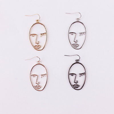 (Abstract Style Face Earrings Gold Picasso Statement Earrings Minimal Hollow Face)