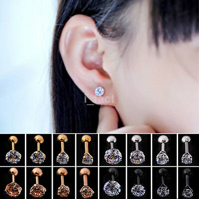2Pcs CZ Prong Tragus Cartilage Piercing Stud Crystal Rhinestone Earring Ear Ring