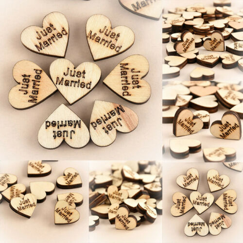 50cs Rustic Wooden Love Heart Wedding Table Supplies Scatter Decor Wood Crafts