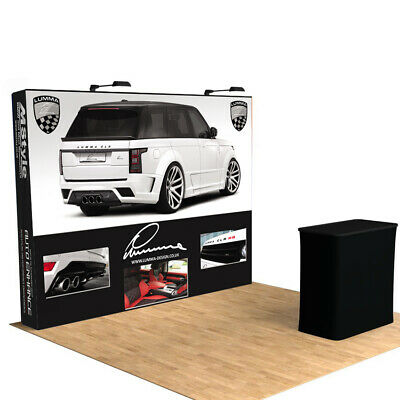 10ft Custom Tension Fabric Pop Up Stand Trade Show Display Booth Backdrop Wall