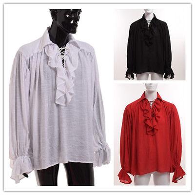 Vintage Regency Victorian Ruffle Jabot Long Shirt Ascot Blouse Vampire - Mens Jabot Shirt