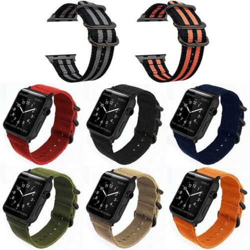 For 38mm/42mm iWatch1 2 3 Sport Nylon Canvas Fabric Apple Watch Wrist Strap Band