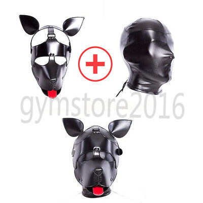 Leather Dog Puppy Red Tongue Full Head Roleplay Hood Cosplay Mask Head - Dog Mask Leather