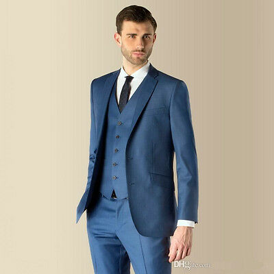 Slim Fit Notch Lapel Best Man Suit Blue Groomsman Men\'s Wedding/Prom ...