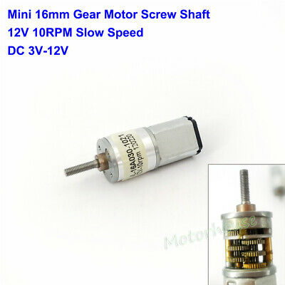 Dc 12v 10rpm Slow Speed Micro 16mm Full Metal Gear Motor Screw Shaft Diy Robot