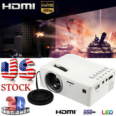 Full HD 1080P Home Theater LED Mini Multimedia Projector Cinema USB VGA TV HDMI