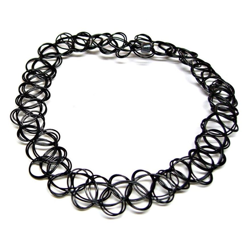 90 39 s black tattoo choker necklace vintage elastic stretch for Black tattoo choker