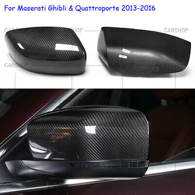 Real Carbon Fiber Side Mirror Cover Add For Maserati Quattroporte Ghibli 13-16