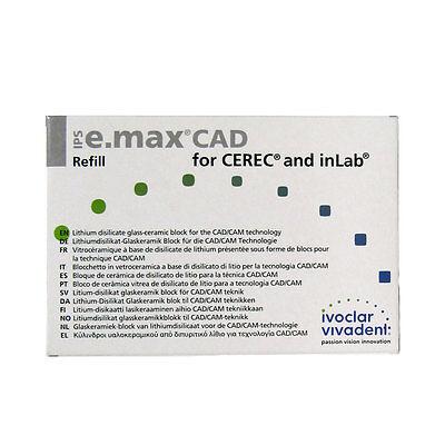 Ivoclar Vivadent Ips E.max Cad Cerec Lt A2 C14 5 Blocks Emax