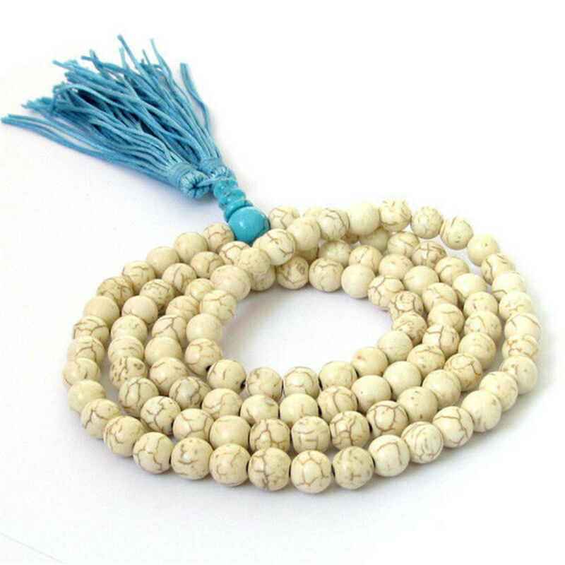 Howlite Gemstone mala Necklace Lotus 6mm 108 Beads spirituality Handmade Wrist