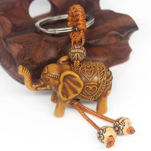 1Pcs Lucky Elephant Carving Wooden Charm Pendant Keychain Evil Defends Gift CA