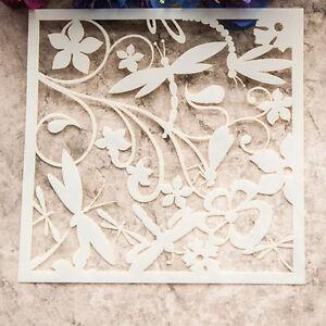 Dragonfly Flower Layering Die Stencil Template DIY Scrapbooking Paint Cut Craft
