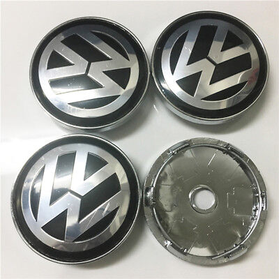 VW Volkswagen Alloy Wheel Set Of 4 Centre Caps 60mm Badges Black