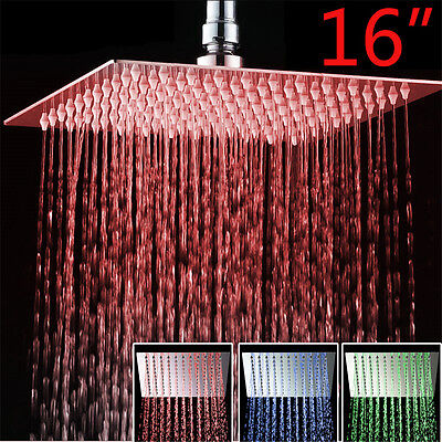 16''LED Open and above-board Rain Head Shower Head Wall Ceiling Mount Ultrathin Brushed Nickel