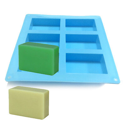 UK Sale 6-Cavity Rectangle Soap Mold Silicone Mould Tray for Homemade DIY Making