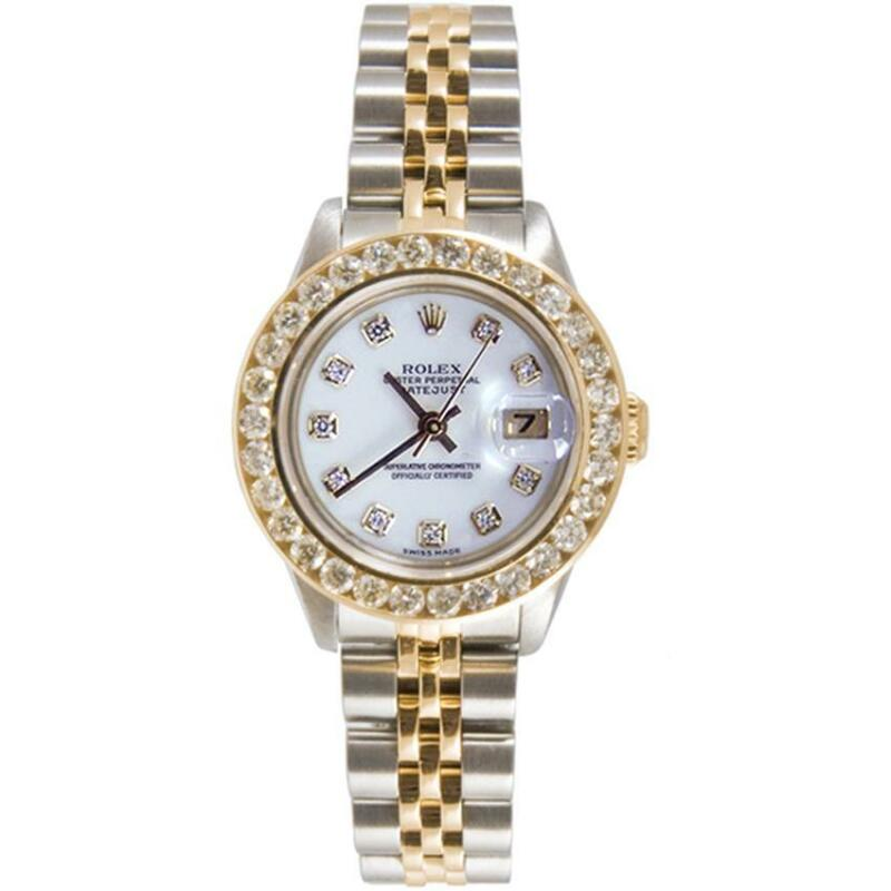 Rolex Lady Datejust Model 69173 With White Diamond Dial & 2ct Diamond Bezel