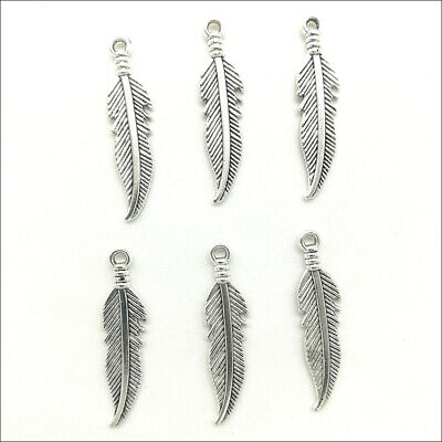 40/60/100pcs feather Antique Silver Charms Pendants DIY Jewelry Findings 27*6mm