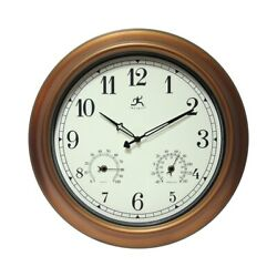 The Craftsman Indoor/Outdoor Wall Clock Thermometer 18 inch Bronze/Gold N/A