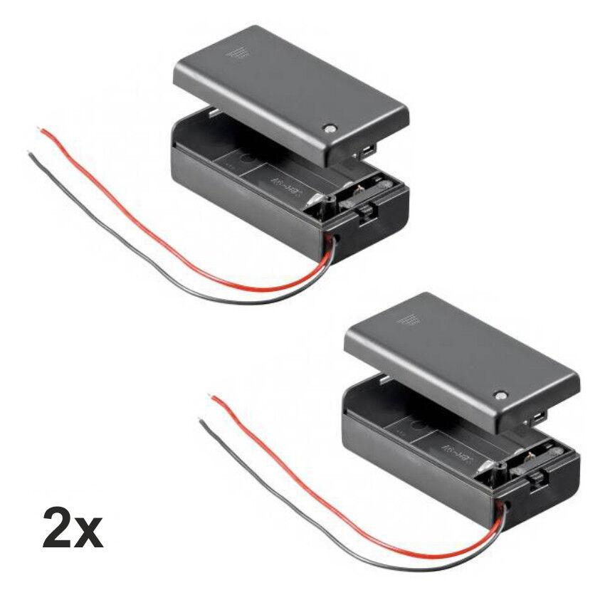2x Batteriehalter für 9 V-Block Akkuhalter Batteriefach mit Schalter Ein Aus