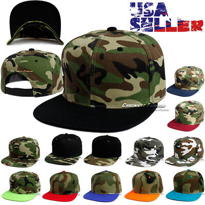 (Baseball Hat Camouflage Snapback Cap Tactical Hip Hop CAMO Blank Flat Bill Men)