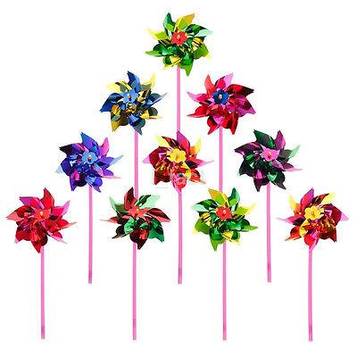 10X HOT Handmade Mini Colorful Windmill Pinwheel Wind Spinner Outdoor Kids Toy u