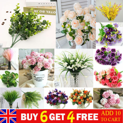 Home Decoration - Artificial Silk Flowers Rose Lily Bunch Wedding Party Home Outdoor Bouquet Decor