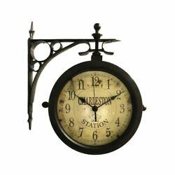 Charleston Side-Mount Indoor/Outdoor Wall Clock Thermometer Black