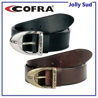 Cintura in Pelle e Cuoio da Lavoro Uomo COFRA Nera Marrone con Fibbia Regolabile