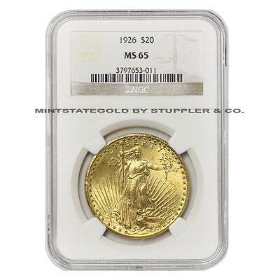 1926 $20 SAINT NGC MS65 GEM GRADED GOLD DOUBLE EAGLE COIN ST GAUDENS LUSTROUS