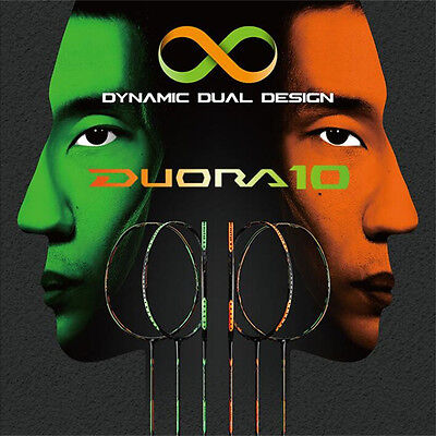 YY Carbon badminton racket DUORA 10 with string prestrung and badminton overgrip