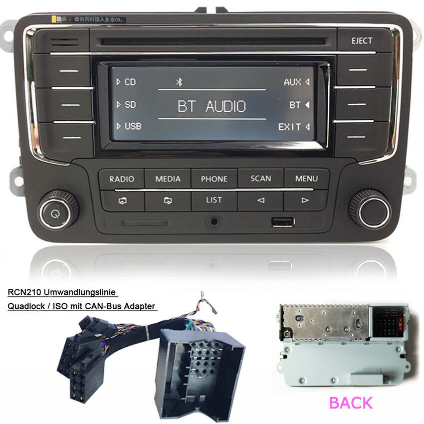 vw autoradio rcn210 mit can kabel bluetooth cd usb aux sd. Black Bedroom Furniture Sets. Home Design Ideas