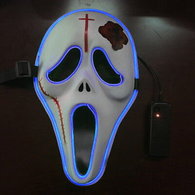Hot Light Up LED Face Mask - Scary Skull Scream Face Mask Makeup Prom - Halloween Scary Faces Makeup