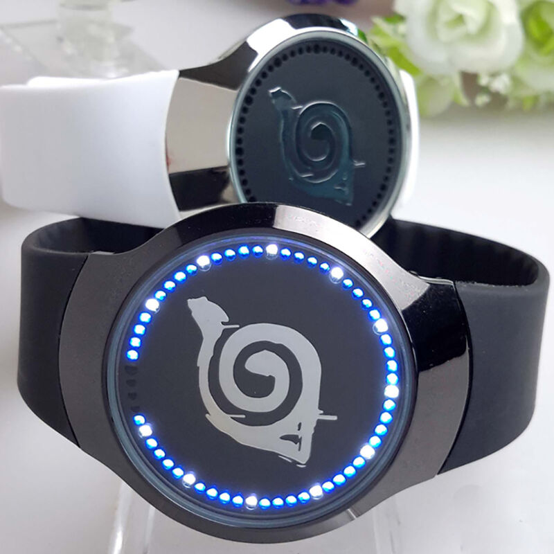 HOT Anime Naruto Konoha Logo LED Touch Screen Electronic Watch Glass Wristwatch