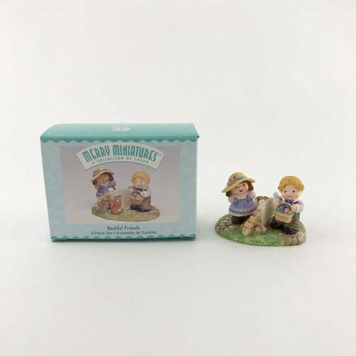 Hallmark Bashful Friends 1999 Merry Miniatures Boy Girl Easter Basket & Bunny